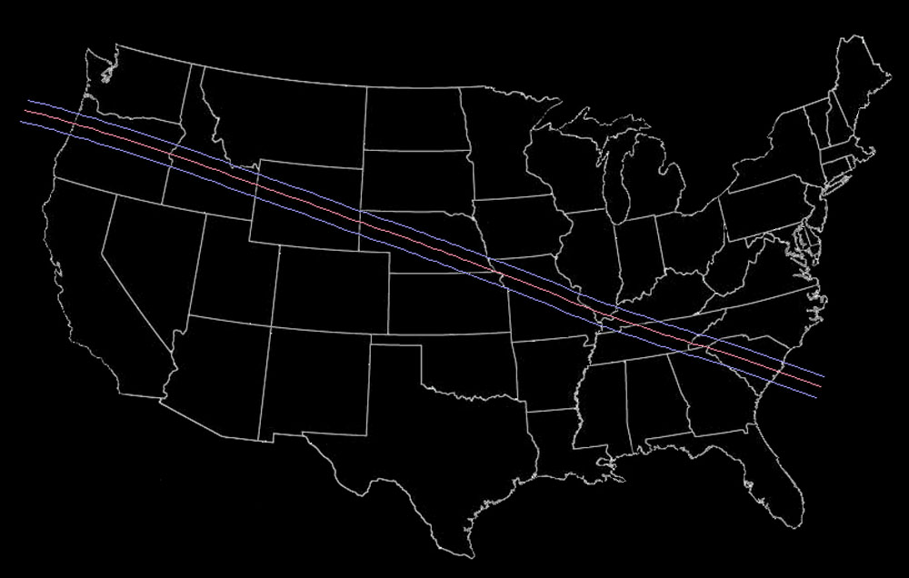 Total Solar Eclipse Path Through The United States - Us total eclipse 2017 map