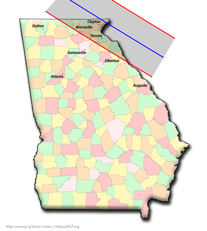 Total Solar Eclipse Communities In Georgia - North georgia map with cities