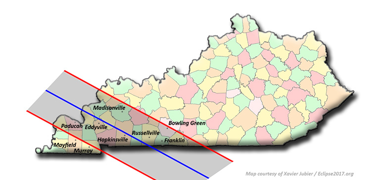 Total Solar Eclipse Communities In Kentucky - Map of western kentucky