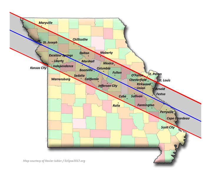 Total Solar Eclipse Communities In Missouri - Map of cities in missouri