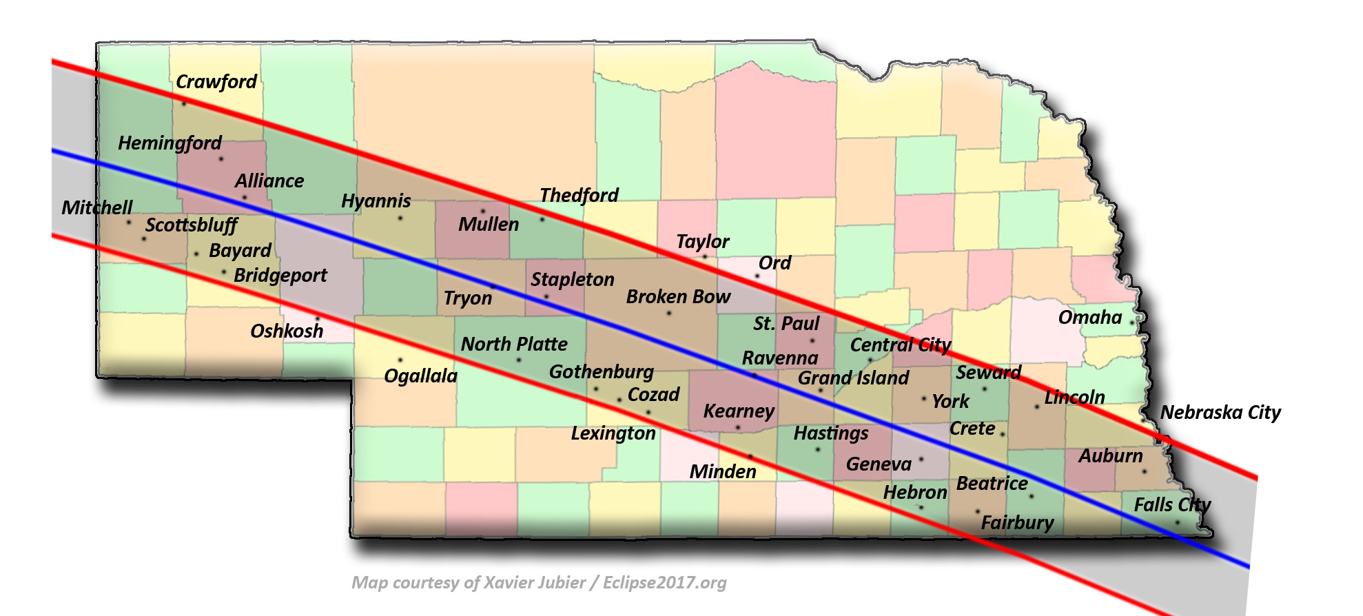 Total Solar Eclipse 2017 Communities In Nebraska