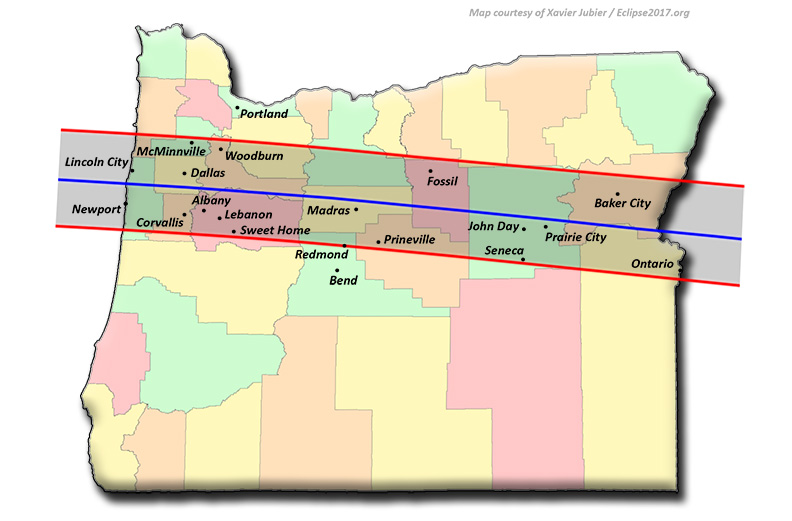 Total Solar Eclipse 2017 Communities in Oregon
