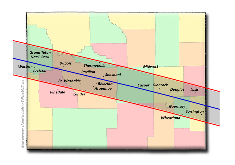 Total Solar Eclipse Communities In Wyoming - Cities in wyoming map