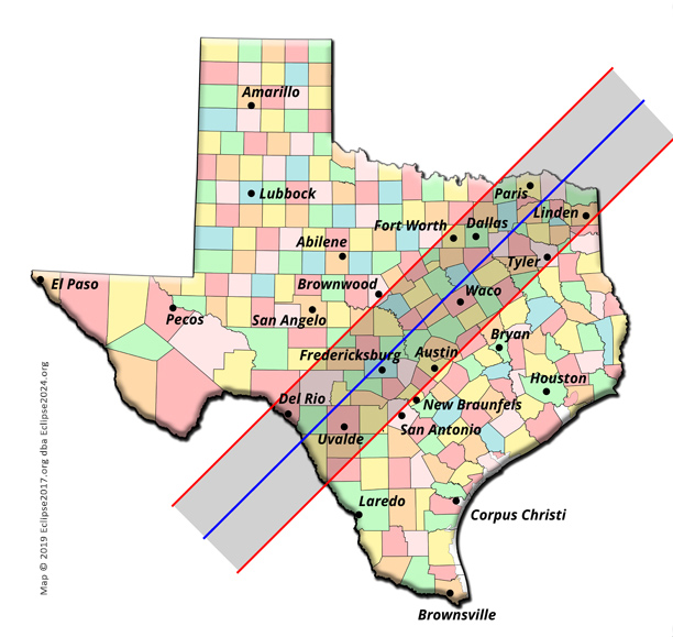 Texas Cities in the path of totality for the Great North ...